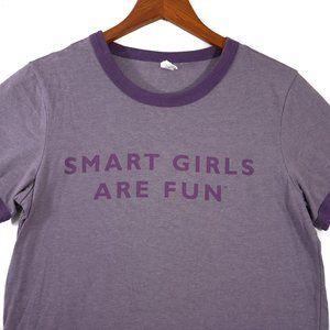 Smart Girls are Fun Tshirt XL Womens Ringer Shirt